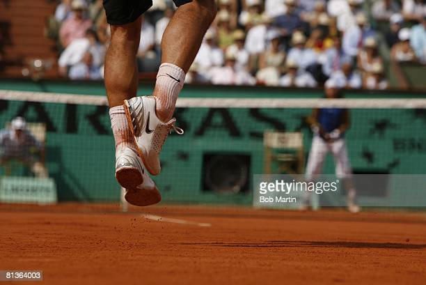 Tennis French Open Closeup of sneakers equipment of Switzerland Roger Federer in action vs Spain Rafael Nadal during Finals at Roland Garros Paris...