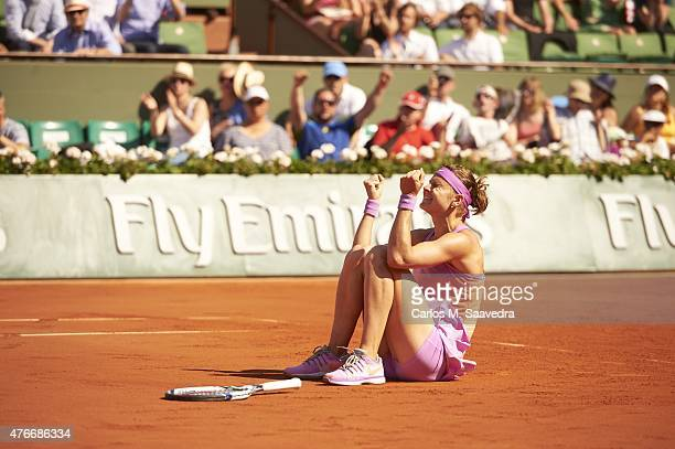 French Open Czech Republic Lucie Safarova victorious down on court after winning Women's Semifinals vs Serbia Ana Ivanovic at Roland Garros Paris...