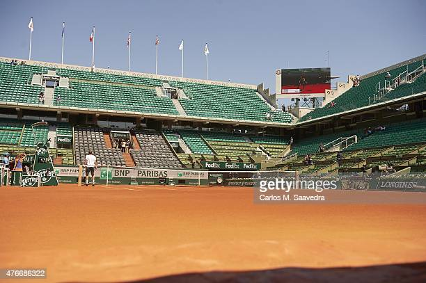 French Open Overall view of Court Suzanne Lenglen and stands before Czech Republic Lucie Safarova vs Serbia Ana Ivanovic match during Women's...