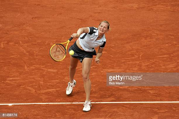 Tennis French Open SVK Ludmila Cervanova in action vs BEL Kim Clijsters at Roland Garros Paris FRA 5/25/2005