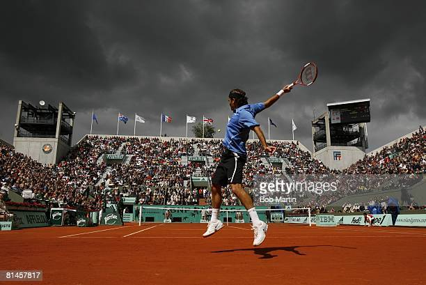 Tennis French Open Switzerland Roger Federer in action vs Colombia Alejandro Falla during 2nd Round at Roland Garros Paris France 5/31/2006