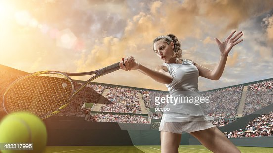 Tennis Girl in Close Up Hitting Ball