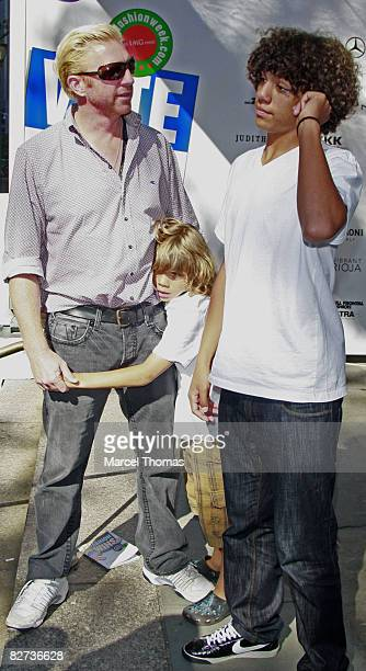 Tennis great Boris Becker and sons Elias and Noah Gabriel seen at Bryant Park on September 8 2008 in New York City