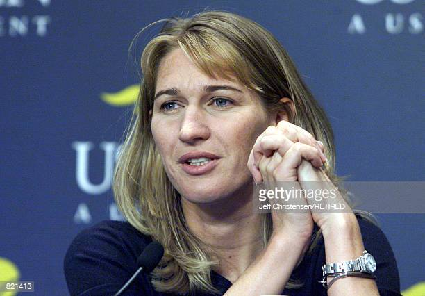 Tennis great Steffi Graf talks to members of the press about her retirement during a news conference August 28 1999 at the US Open stadium in New...