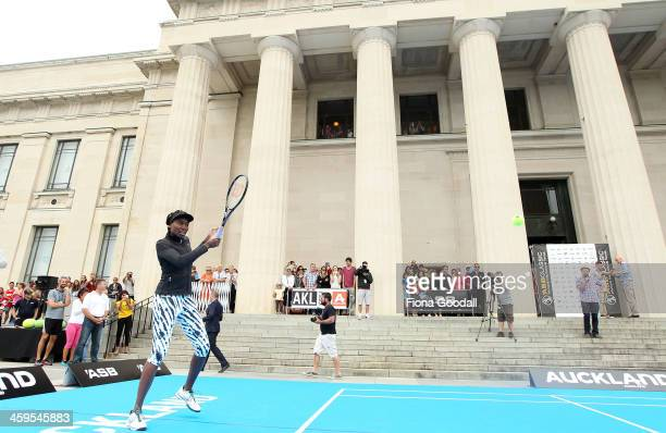 Tennis great Venus Williams plays during the exhibition match between Venus Williams of the United States of America and Marina Erakovic of New...