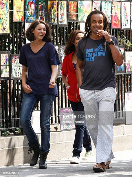 Tennis great Yannick Noah are seen with kids Elyjah and Jenaye Noah in Washington Square Park on June 12 2010 in New York New York