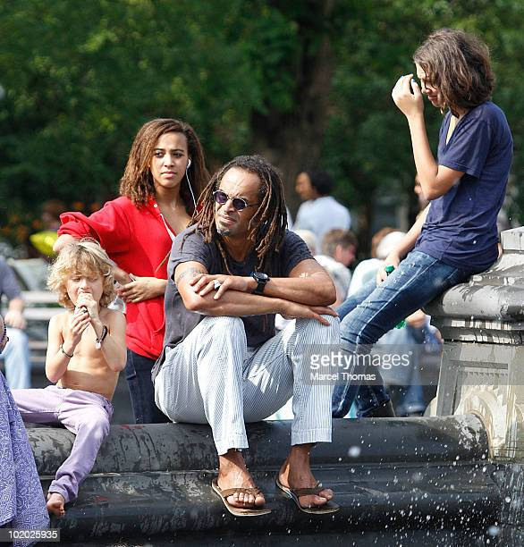 Tennis great Yannick Noah is seen with kids Elyjah Jenaye and Joalukas Noah in Washington Square Park on June 12 2010 in New York New York