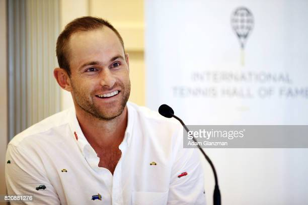 Tennis Hall of Fame inductee Andy Roddick of the United States speaks during a news conference before enshrinement ceremonies at the International...
