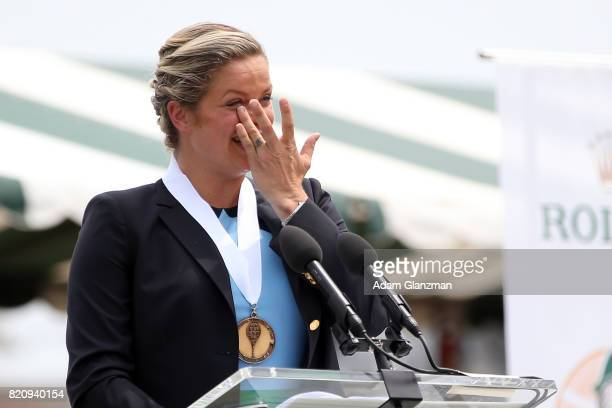 Tennis Hall of Fame inductee Kim Clijsters of Belgium speaks during enshrinement ceremonies at the International Tennis Hall of Fame on July 22 2017...