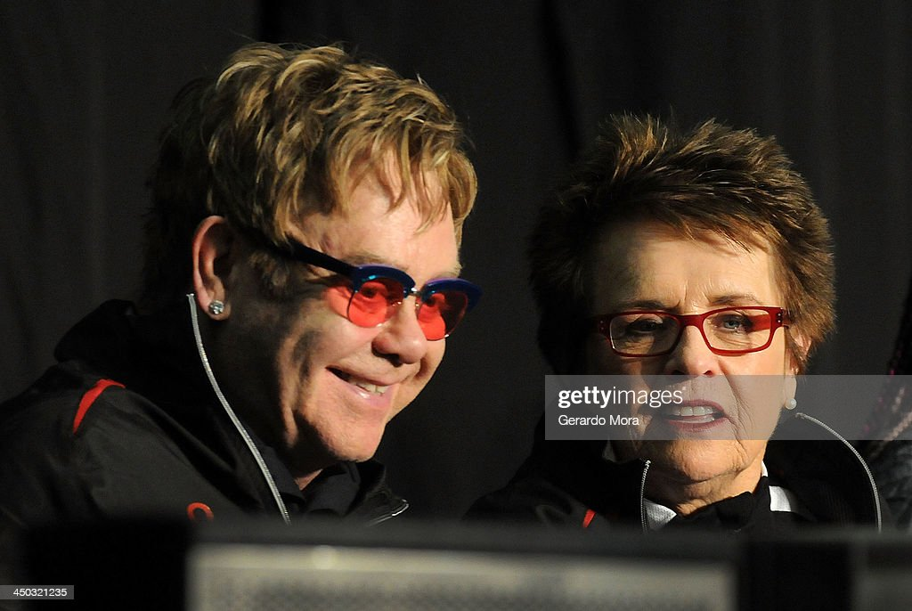 Tennis legend Billie Jean King (R) and singer Sir Elton John smile during the Mylan World TeamTennis VIP reception at ESPN Wide World of Sports Complex on November 17, 2013 in Lake Buena Vista, Florida.