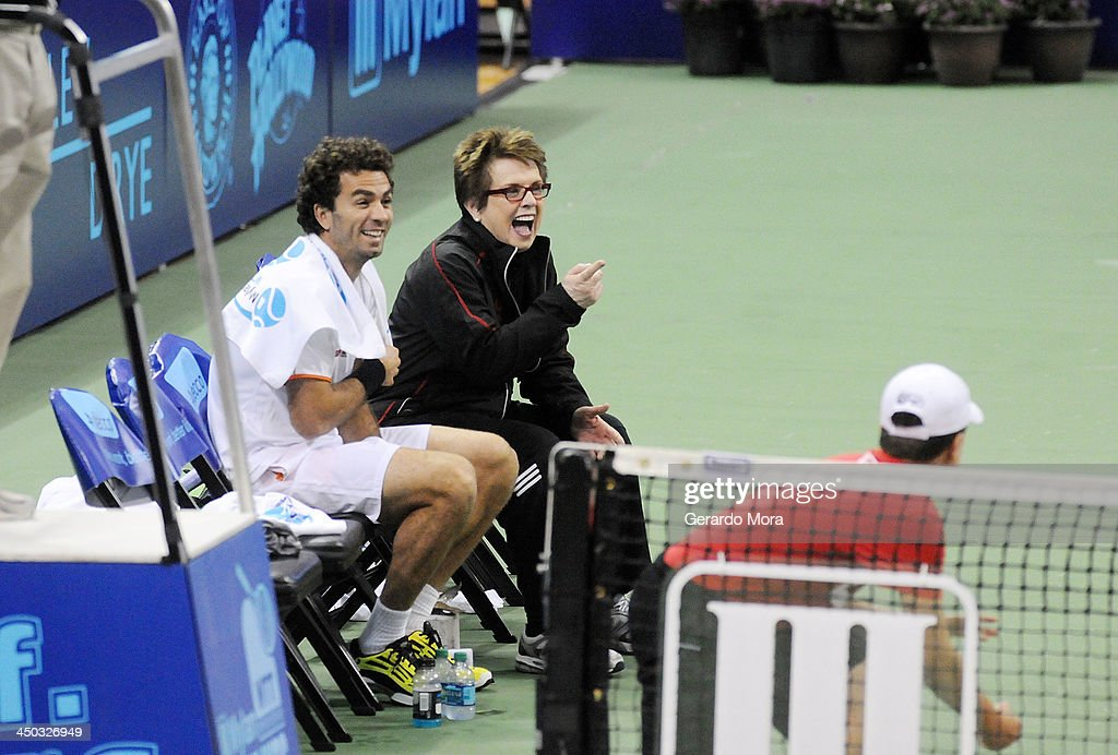 Tennis legend Billie Jean King (R) and tennis player Jean-Julien Rojer smile during the Mylan World TeamTennis Matches at ESPN Wide World of Sports Complex on November 17, 2013 in Lake Buena Vista, Florida.