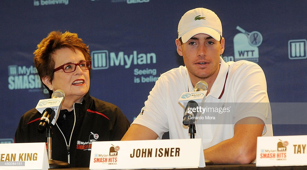 Tennis legend <a gi-track='captionPersonalityLinkClicked' href=/galleries/search?phrase=Billie+Jean+King&family=editorial&specificpeople=93147 ng-click='$event.stopPropagation()'>Billie Jean King</a> (L) and tennis player <a gi-track='captionPersonalityLinkClicked' href=/galleries/search?phrase=John+Isner+-+Tennis+Player&family=editorial&specificpeople=4439464 ng-click='$event.stopPropagation()'>John Isner</a> attend the press conference for Mylan World TeamTennis at ESPN Wide World of Sports Complex on November 17, 2013 in Lake Buena Vista, Florida.
