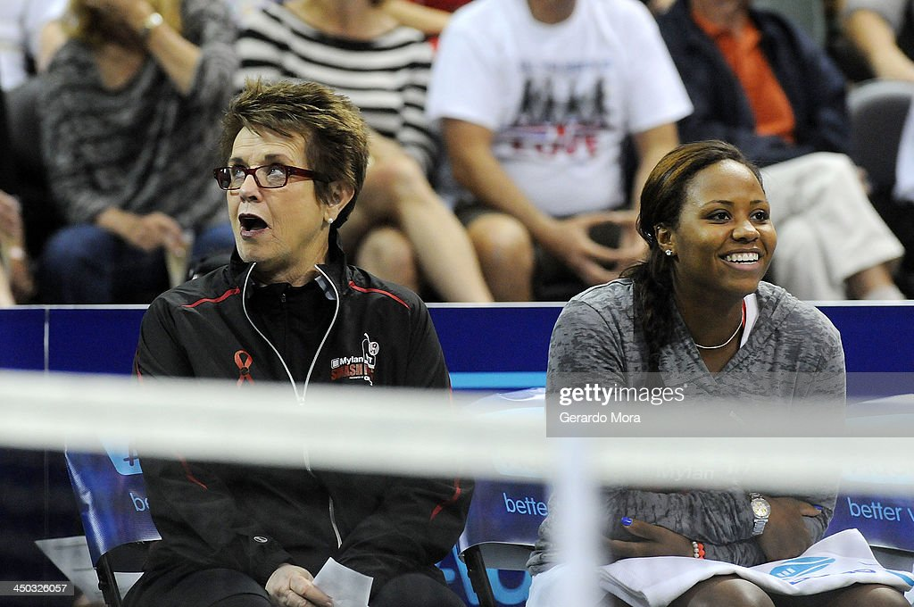Tennis legend Billie Jean King (L) and tennis player Taylor Townsend smile during the Mylan World TeamTennis Matches at ESPN Wide World of Sports Complex on November 17, 2013 in Lake Buena Vista, Florida.