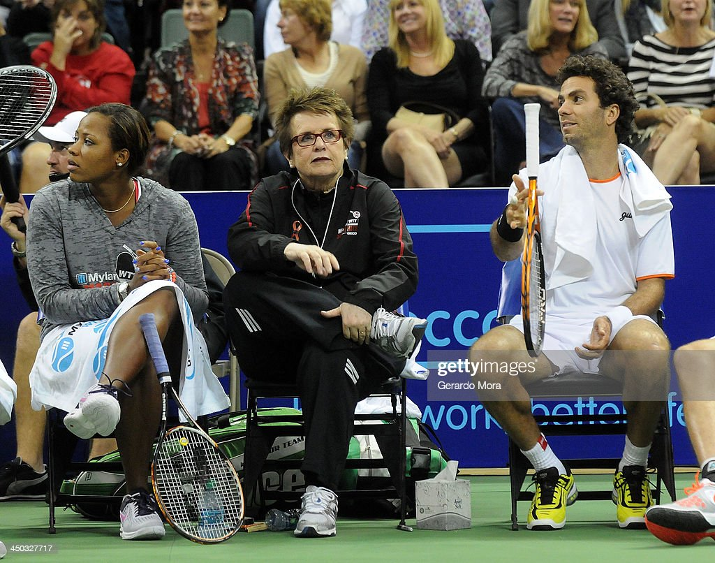 Tennis legend Billie Jean King (C) and tennis players Taylor Townsend (L) and Jean-Julien Rojer attend the Mylan World TeamTennis Matches at ESPN Wide World of Sports Complex on November 17, 2013 in Lake Buena Vista, Florida.
