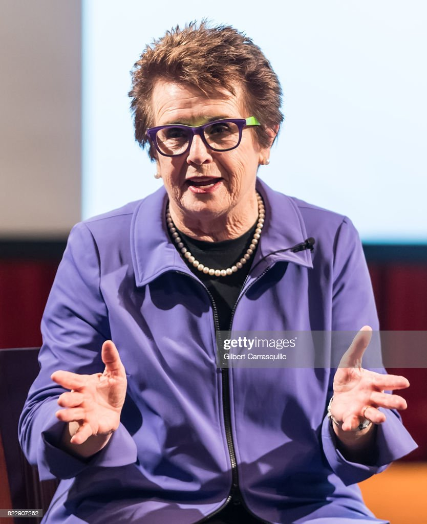 Tennis legend Billie Jean King attends A Conversation With Billie Jean King & Andy Roddick benefiting the AmerisourceBergen Foundation during the 2017 Mylan World TeamTennis at Mandeville Hall at St. Joseph's University on July 25, 2017 in Philadelphia, Pennsylvania