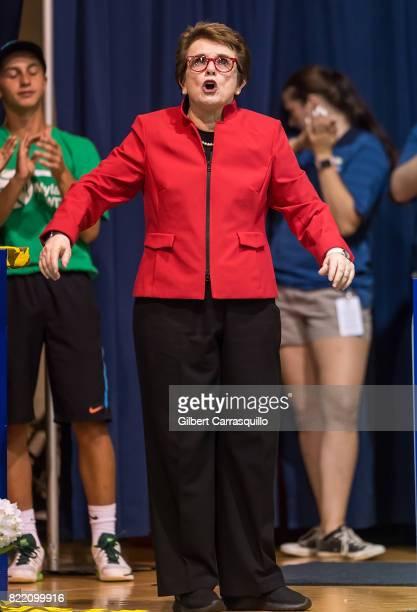 Tennis legend Billie Jean King attends the 2017 Mylan World TeamTennis Washington Kastles vs Philadelphia Freedoms match at Michael J Hagan Arena at...