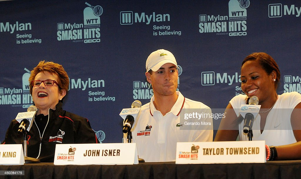 Tennis legend Billie Jean King (L), John Isner and Taylor Townsend attend the press conference for Mylan World TeamTennis at ESPN Wide World of Sports Complex on November 17, 2013 in Lake Buena Vista, Florida.