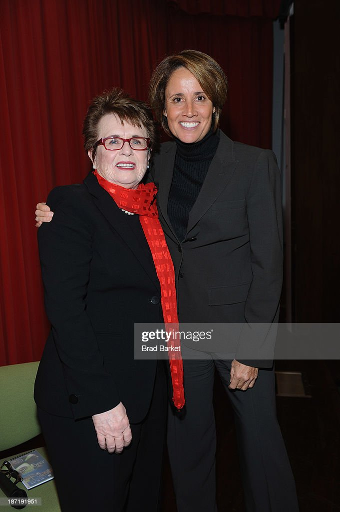 Tennis legend <a gi-track='captionPersonalityLinkClicked' href=/galleries/search?phrase=Billie+Jean+King&family=editorial&specificpeople=93147 ng-click='$event.stopPropagation()'>Billie Jean King</a> (L) poses with sportscaster Mary Carillo at King's 70th Birthday Party organized by the Women's Sports Foundation at the Museum of Art and Design on November 6, 2013 in New York City.