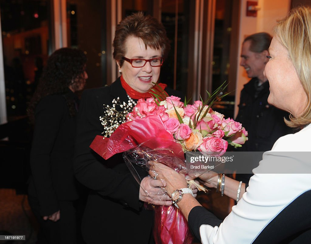 Tennis legend <a gi-track='captionPersonalityLinkClicked' href=/galleries/search?phrase=Billie+Jean+King&family=editorial&specificpeople=93147 ng-click='$event.stopPropagation()'>Billie Jean King</a> receives flowers during her 70th Birthday Party organized by the Women's Sports Foundation at the Museum of Art and Design on November 6, 2013 in New York City.