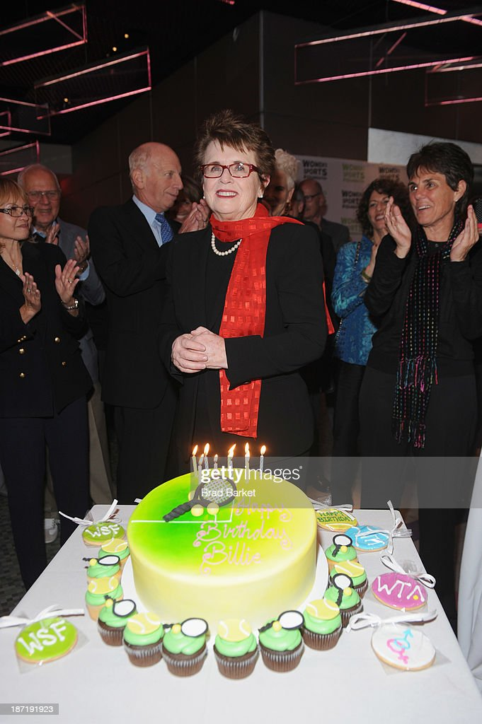 Tennis legend Billie Jean King receives her Birthday cake during her 70th Birthday Party organized by the Women's Sports Foundation at the Museum of Art and Design on November 6, 2013 in New York City.