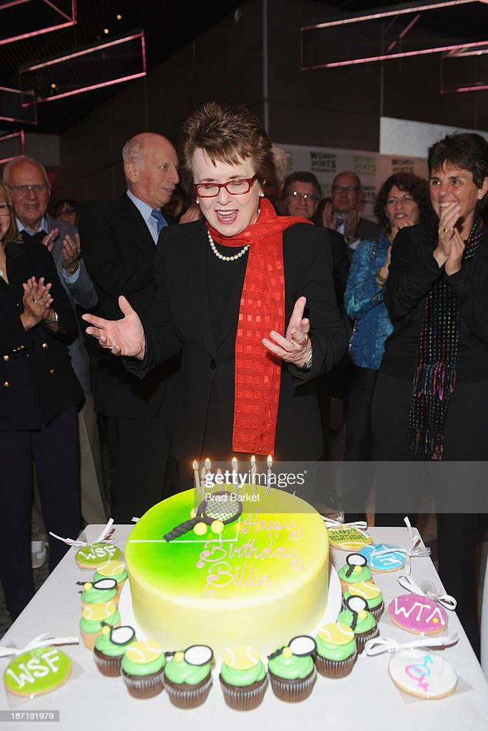 Tennis legend <a gi-track='captionPersonalityLinkClicked' href=/galleries/search?phrase=Billie+Jean+King&family=editorial&specificpeople=93147 ng-click='$event.stopPropagation()'>Billie Jean King</a> receives her Birthday cake during her 70th Birthday Party organized by the Women's Sports Foundation at the Museum of Art and Design on November 6, 2013 in New York City.