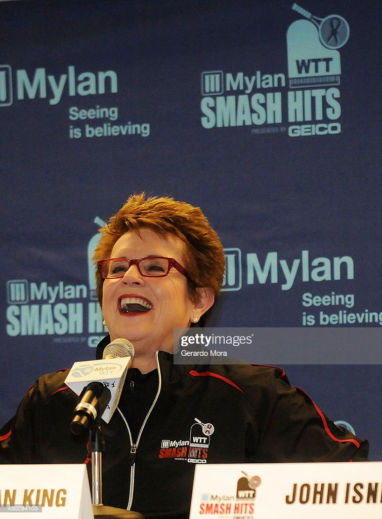 Tennis legend <a gi-track='captionPersonalityLinkClicked' href=/galleries/search?phrase=Billie+Jean+King&family=editorial&specificpeople=93147 ng-click='$event.stopPropagation()'>Billie Jean King</a> smiles during the press conference for Mylan World TeamTennis at ESPN Wide World of Sports Complex on November 17, 2013 in Lake Buena Vista, Florida.