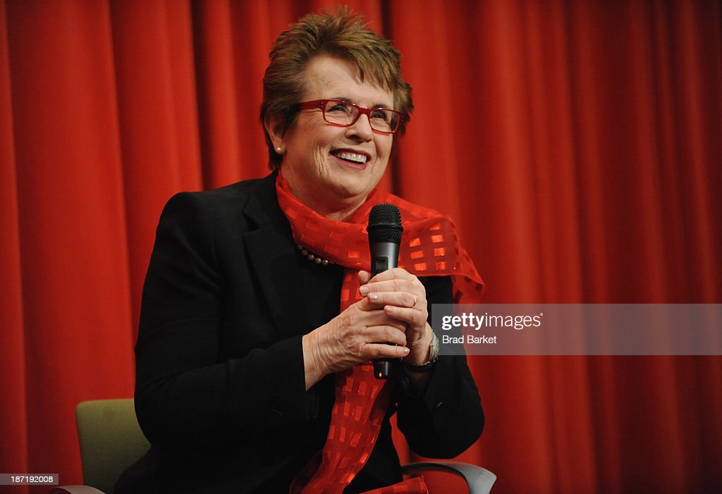 Tennis legend <a gi-track='captionPersonalityLinkClicked' href=/galleries/search?phrase=Billie+Jean+King&family=editorial&specificpeople=93147 ng-click='$event.stopPropagation()'>Billie Jean King</a> speaks at her 70th Birthday Party Celebration organized by the Women's Sports Foundation at the Museum of Art and Design on November 6, 2013 in New York City.