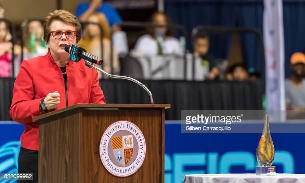 Tennis legend Billie Jean King speaks during the Billie Jean King Freedom Award presentation to Dr Franklyn Scott of the American Tennis Association...