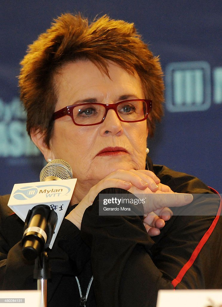 Tennis legend <a gi-track='captionPersonalityLinkClicked' href=/galleries/search?phrase=Billie+Jean+King&family=editorial&specificpeople=93147 ng-click='$event.stopPropagation()'>Billie Jean King</a> speaks during the press conference for Mylan World TeamTennis at ESPN Wide World of Sports Complex on November 17, 2013 in Lake Buena Vista, Florida.
