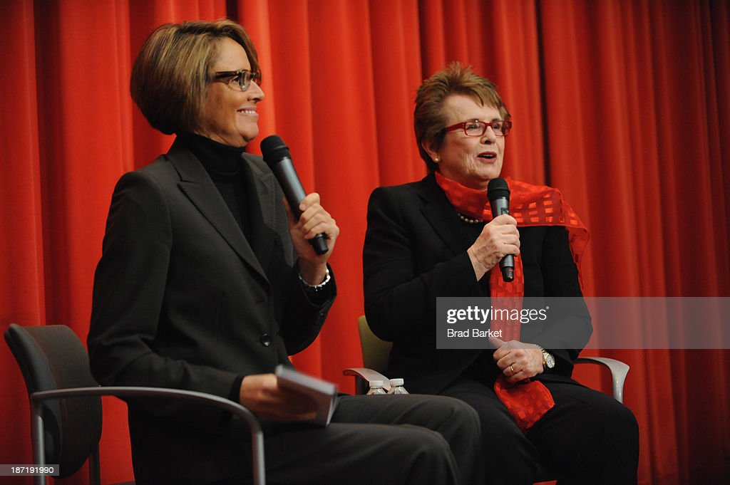 Tennis legend <a gi-track='captionPersonalityLinkClicked' href=/galleries/search?phrase=Billie+Jean+King&family=editorial&specificpeople=93147 ng-click='$event.stopPropagation()'>Billie Jean King</a> speaks with sportscaster Mary Carillo during the Q&A at King's 70th Birthday Party Celebration organized by the Women's Sports Foundation at the Museum of Art and Design on November 6, 2013 in New York City.