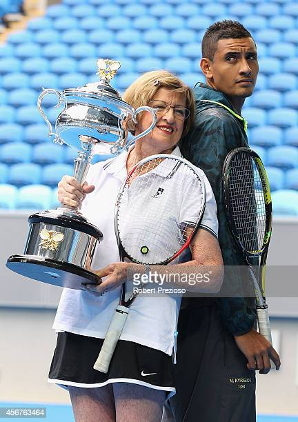 Tennis legend Margaret Court and Australian tennis player Nick Kyrios pose for photos during the 2015 Australian Open launch at Melbourne Park on...