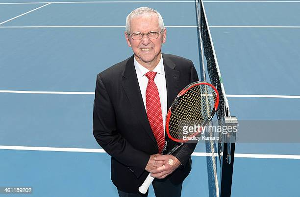 Tennis legend Roy Emerson poses for a photo at the opening of the new tennis centre in Brisbane named in his honour during day five of the 2015...