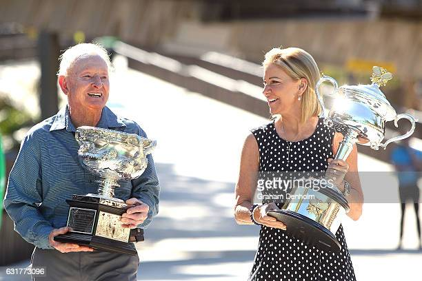Tennis legends Chris Evert and Rod Laver hold the Daphne Akhurst Memorial Cup and Norman Brookes Challenge Cup on day one of the 2017 Australian Open...
