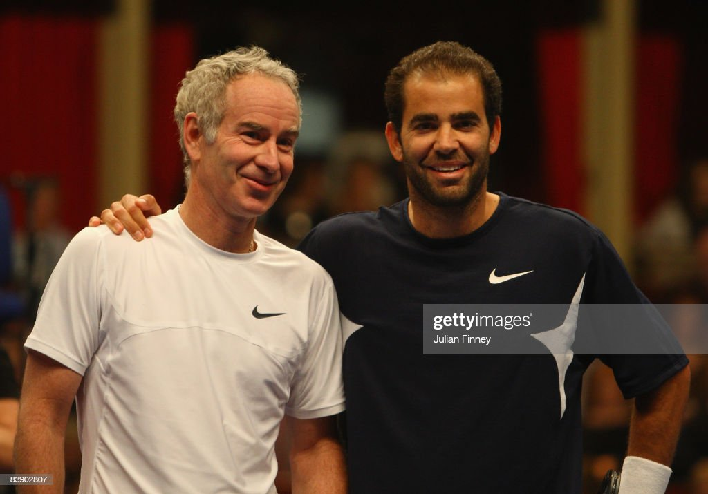 Tennis legends, John McEnroe and Pete Sampras of United States pose for photos before the BlackRock Masters Tennis at the Royal Albert Hall on December 3, 2008 in London, England.