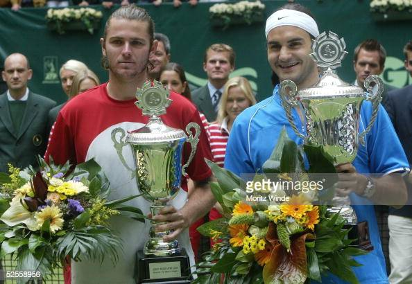 Tennis / Maenner Gerry Weber Open 2004 Halle zweiter Sieger Mardy FISH / USA Sieger Roger FEDERER / SUI 130604