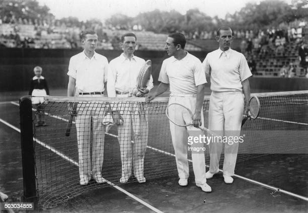 Tennis match between RotWeiß Tennis Club and Stade Racing Hundekehlesee From left to right Christian Boussus Jacques Brugnon Daniel Prenn Hans...
