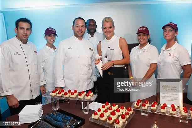 Tennis player Agnieszka Radwanska poses in the Cheesecake Factory booth at the 14th Annual BNP Paribas Taste Of Tennis at W New York Hotel on August...