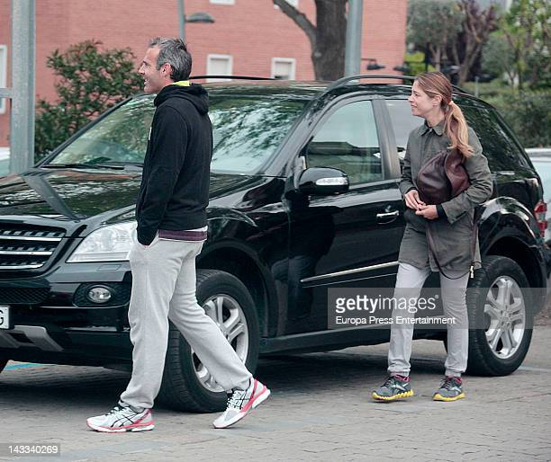 Tennis player Alex Corretja and model Martina Klein are sighted on April 23 2012 in Barcelona Spain