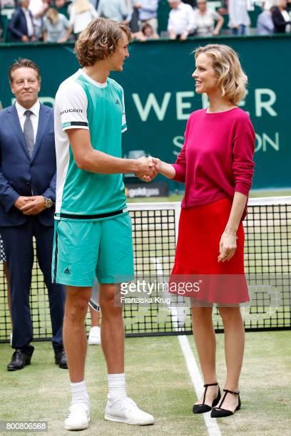 Tennis player Alexander Zverev and topmodel Eva Herzigova attend the Gerry Weber Open 2017 at Gerry Weber Stadium on June 25 2017 in Halle Germany