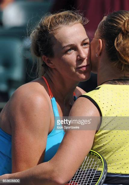 WTA tennis player Anastasia Pavlyuchenkova gives Svetlana Kuznetsova a kiss after Pavlyuchenkova lost a quarterfinal match to Kuznetsova 63 62 on...