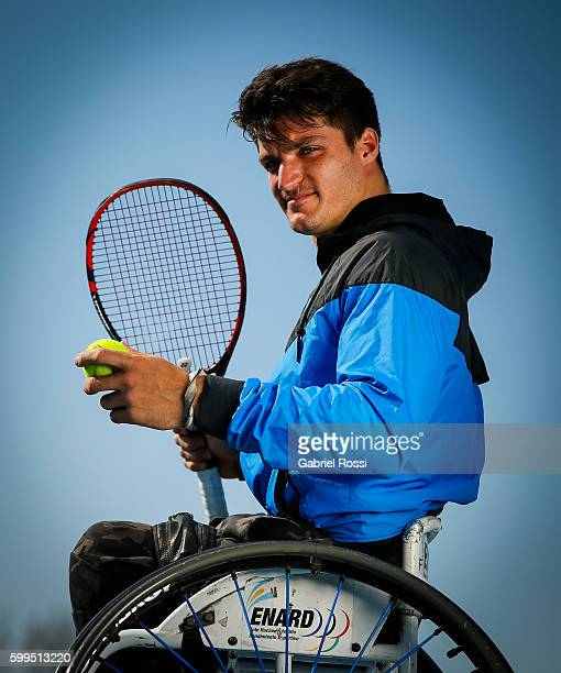 Tennis player and Paralympic flag bearer of Argentina Gustavo Fernandez of Argentina during an exclusive portrait session at Centro Asturiano de...