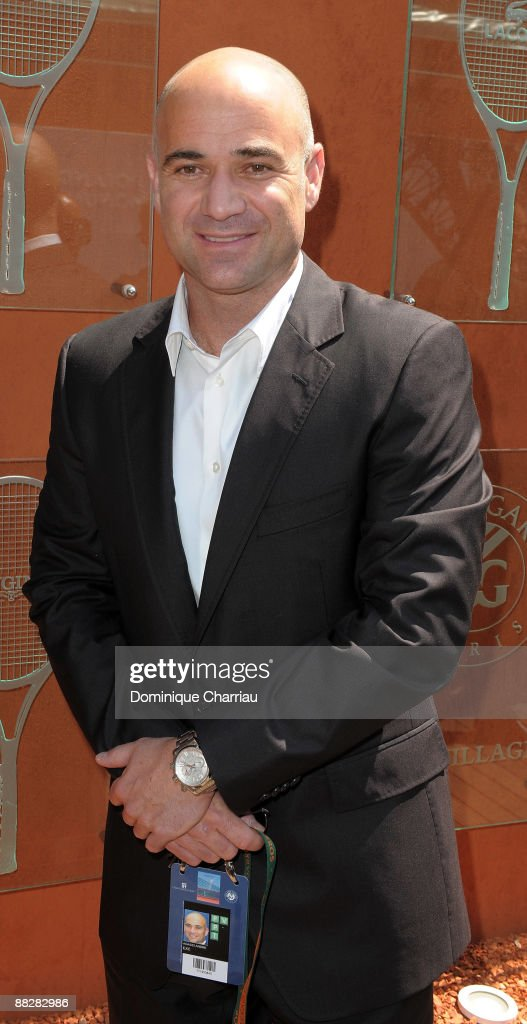 Tennis player Andre Agassi attends The French Open 2009 at Roland Garros Stadium on June 7, 2009 in Paris, France.