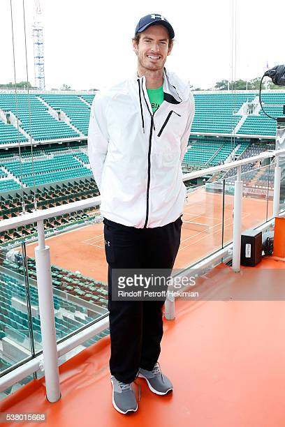 Tennis Player Andy Murray poses at France Television french chanel studio during Day Fourteen Women single's Final of the 2016 French Tennis Open at...
