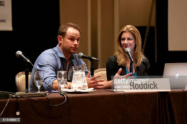 Tennis player Andy Roddick and sports journalist Bonnie Bernstein speak onstage at 'Community Counts Making Philanthropy Part of the Game' during the...