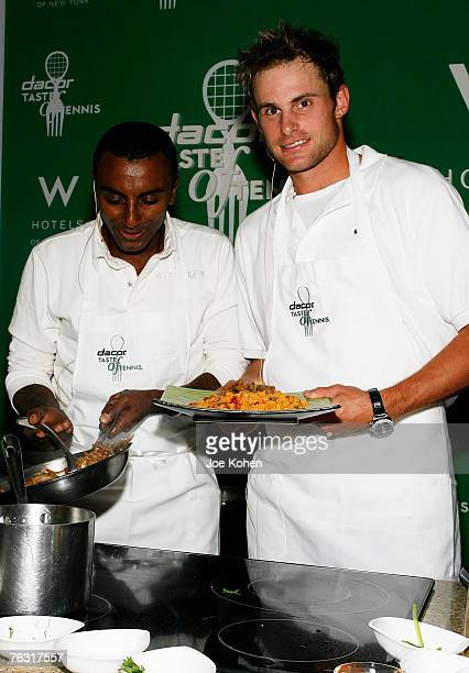Tennis player Andy Roddick during a cooking demo with Chef Marcus Samuelsson of 'Aquavit' at the 8th Annual Dacor Taste of Tennis event on August 23...