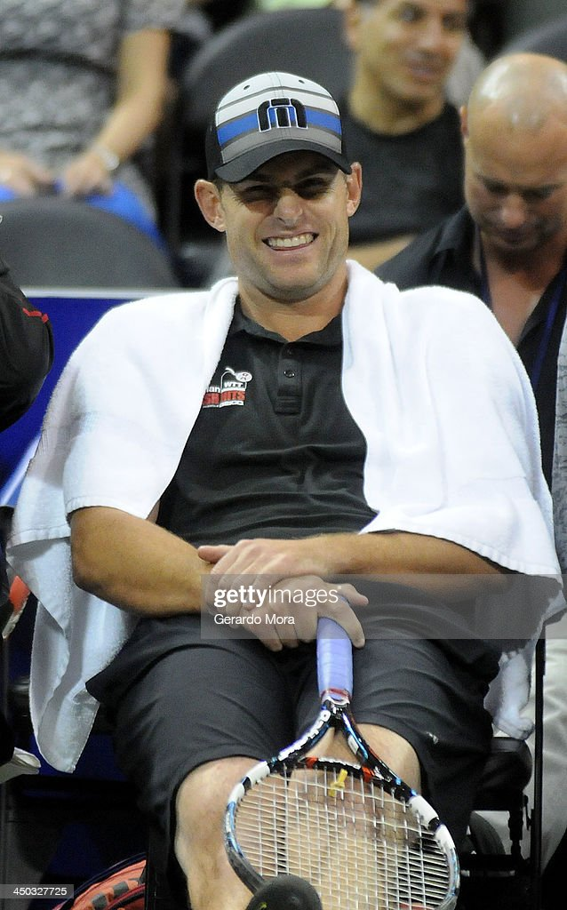 Tennis player <a gi-track='captionPersonalityLinkClicked' href=/galleries/search?phrase=Andy+Roddick&family=editorial&specificpeople=167084 ng-click='$event.stopPropagation()'>Andy Roddick</a> smiles during the Mylan World TeamTennis Matches at ESPN Wide World of Sports Complex on November 17, 2013 in Lake Buena Vista, Florida.
