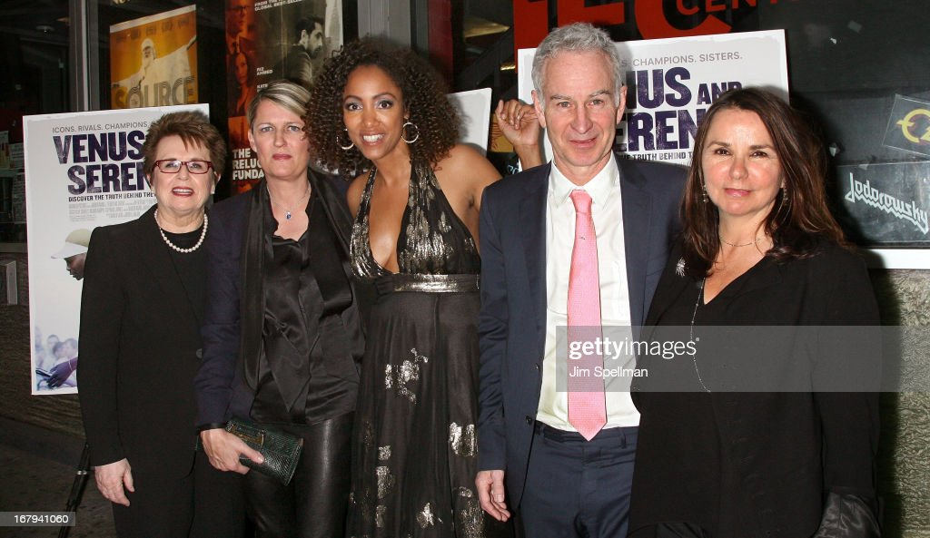Tennis Player Billie Jean King, directors Maiken Baird, Michelle Major tennis player John McEnroe and wife singer Patty Smyth attend the 'Venus And Serena' New York Screening at IFC Center on May 2, 2013 in New York City.
