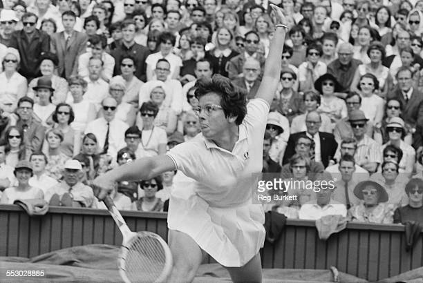Tennis player Billie Jean King of the United States in action at the Women's Singles Final Wimbledon 8th July 1967 King went on to beat Ann Jones of...