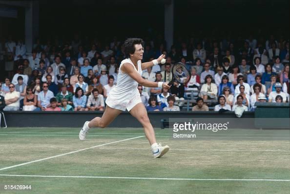 Tennis player Billie Jean King serves during a match against Kathy Jordan during the Wimbledon Tennis Tournament