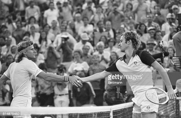 Tennis player Bjorn Borg congratulates John McEnroe for his win at the US Open in 1981 It was McEnroe's third consecutive men's singles title